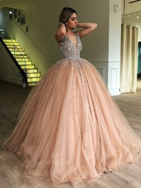Ball Gown V-neck Sleeveless Floor-Length With Beading Tulle Dresses