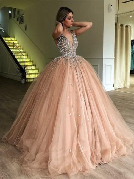 Ball Gown V-neck Sleeveless Floor-Length With Beading Tulle Dresses