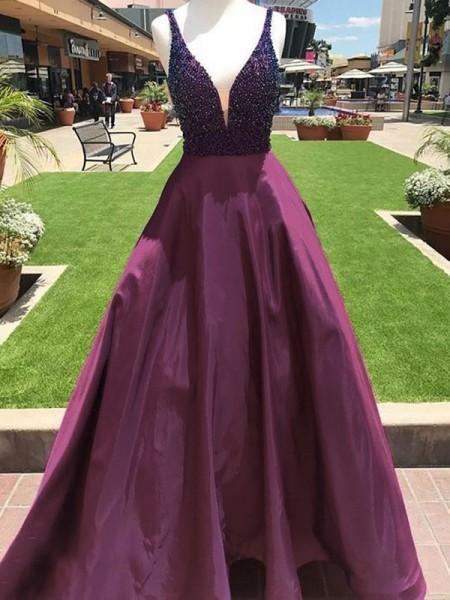 A-Line V-neck Sleeveless Floor-Length With Beading Satin Dresses