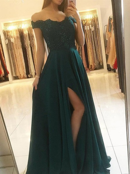 A-Line Off-the-Shoulder Sleeveless Floor-Length With Beading Chiffon Dresses