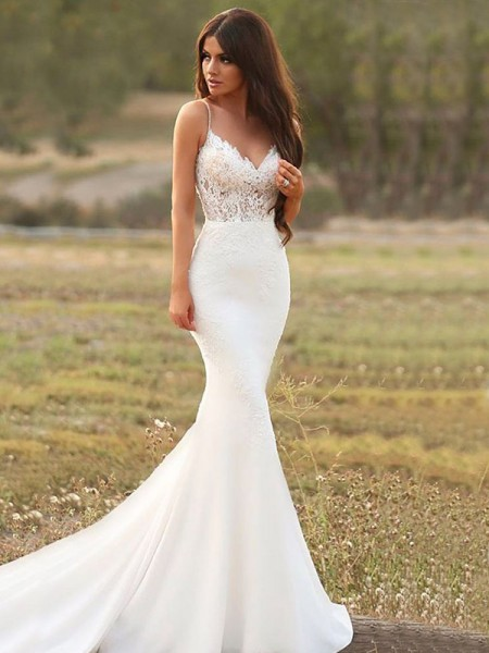 Mermaid Satin With Applique Spaghetti Straps Sleeveless Sweep