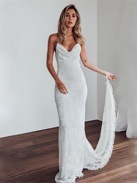 Sheath Lace Spaghetti Straps Sleeveless Sweep Brush Train Wedding