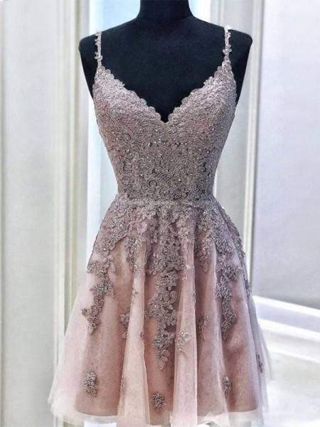 A-Line Tulle Beading Spaghetti Straps Sleeveless Short/Mini Homecoming Dresses
