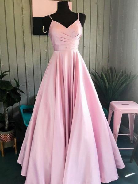 A-Line/Princess Satin Ruched Spaghetti Straps Sleeveless Floor-Length Dresses