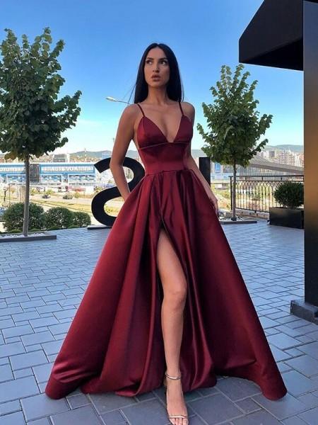 A-Line/Princess Ruffles Satin Spaghetti Straps Sleeveless Long Train Dresses