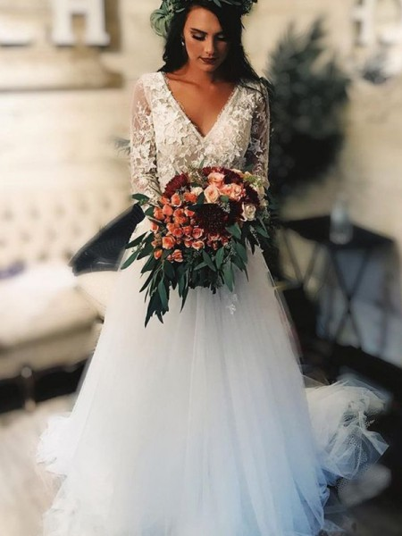 A-Line/Princess Tulle V-neck Applique Long Sleeves Sweep/Brush Train Wedding Dresses