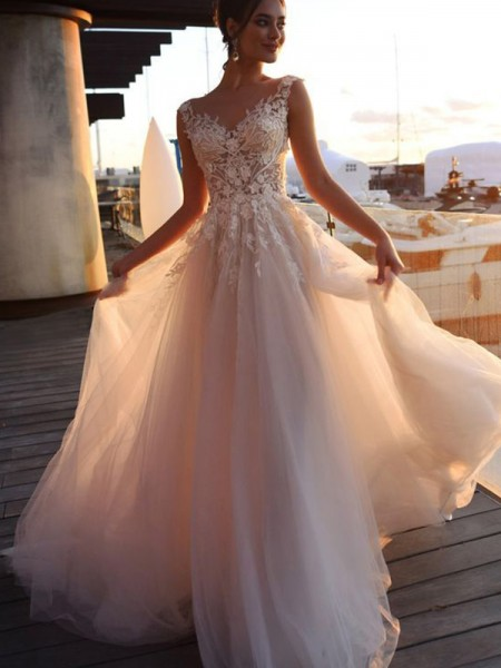 A-Line/Princess Bateau Applique Short Sleeves Sweep/Brush Train Tulle Wedding Dresses