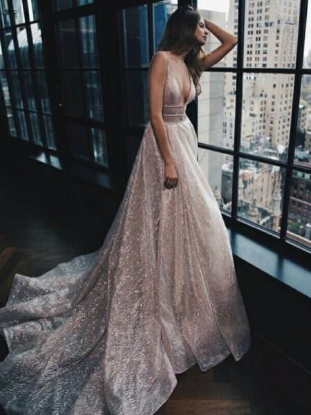 A-Line/Princess Chapel Train V-neck Sleeveless Tulle Ruffles Dresses