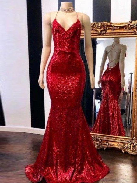 Trumpet/Mermaid Sweep/Brush Train Spaghetti Straps Sleeveless Sequins Dresses