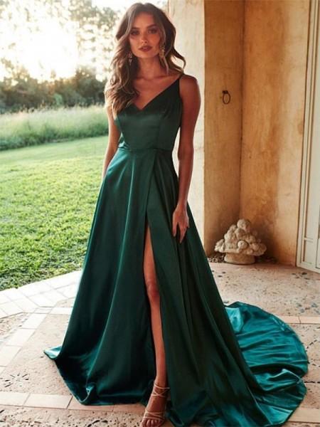 A-Line/Princess V-neck Elastic Woven Satin Sleeveless Ruffles Sweep/Brush Train Dresses