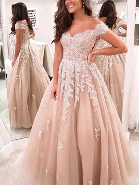 A-Line/Princess Tulle Applique Off-the-Shoulder Sleeveless Floor-Length Dresses