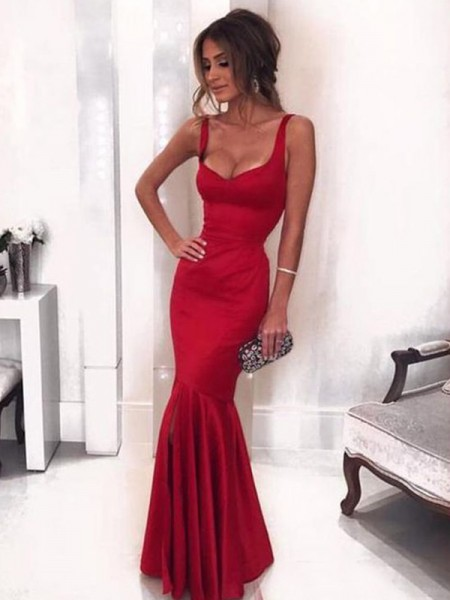 Sheath/Column Stretch Crepe Ruffles Straps Sleeveless Floor-Length Dresses