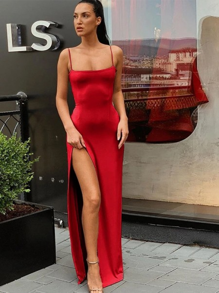 Sheath/Column Jersey Spaghetti Straps Ruched Sleeveless Floor-Length Dresses