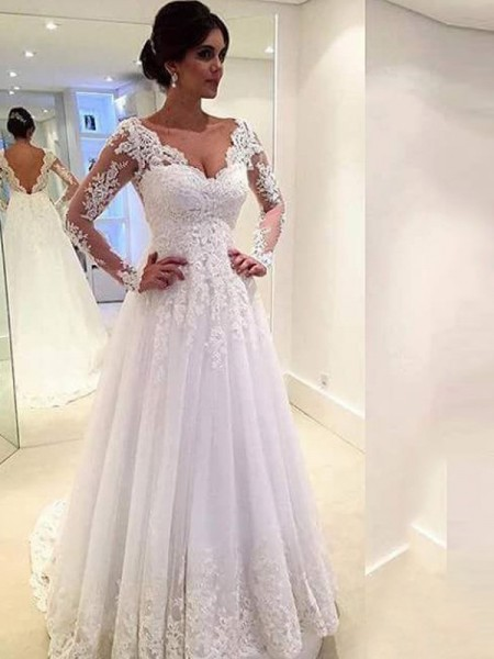 Ball Gown Tulle V-neck Long Sleeves Sweep/Brush Train With Lace Wedding Dresses