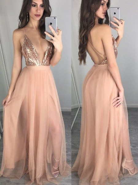 A-Line Chiffon Spaghetti Straps Sleeveless Floor-Length With Sequin Dresses