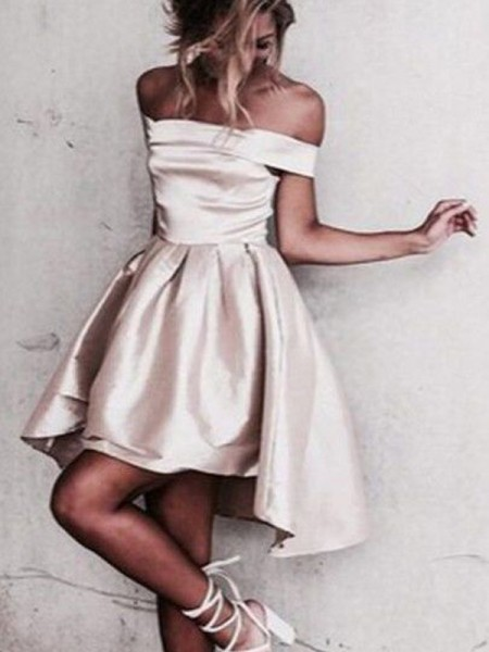 A-Line Satin Off-the-Shoulder Sleeveless Short/Mini With Ruffles Dresses