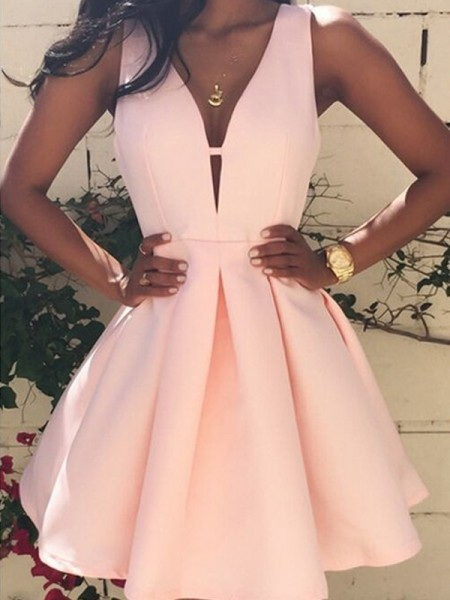 A-Line Satin V-neck Sleeveless Short/Mini With Ruffles Dresses