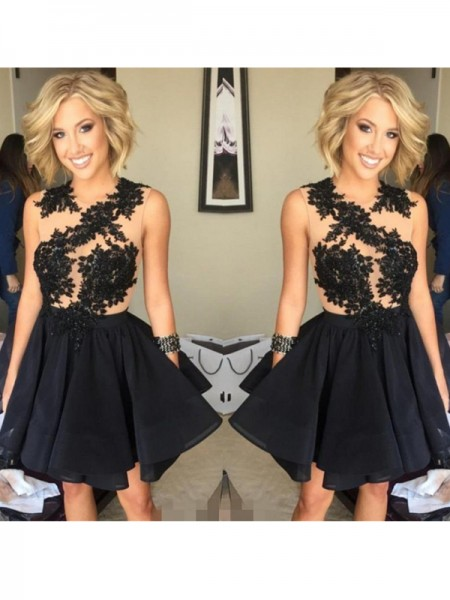 A-Line Chiffon Scoop Sleeveless Short/Mini With Lace Dresses