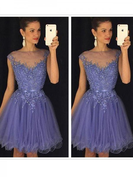 A-Line Tulle Scoop Sleeveless Short/Mini With Applique Dresses