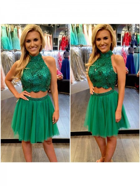 A-Line Tulle High Neck Sleeveless Short/Mini With Beading Dresses