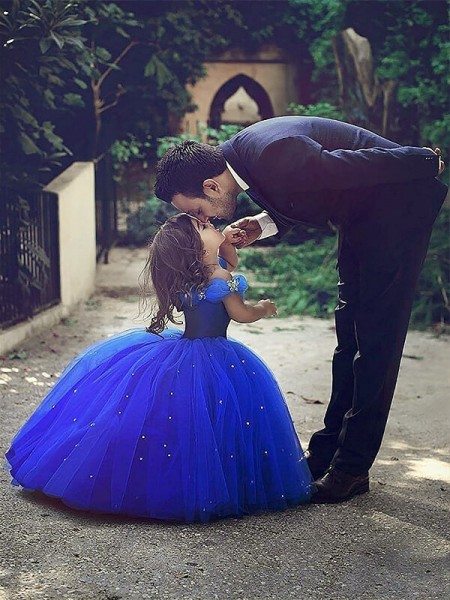 Ball Gown Tulle Off-the-Shoulder Sleeveless Floor-Length With Crystal Flower Girl Dresses