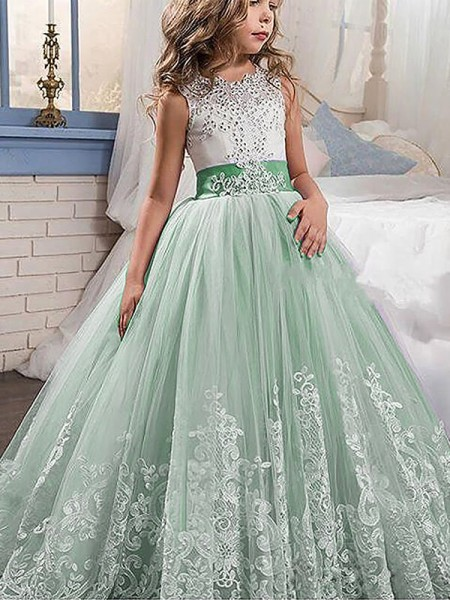 Ball Gown Tulle Jewel Sleeveless Sweep/Brush Train With Lace Flower Girl Dresses