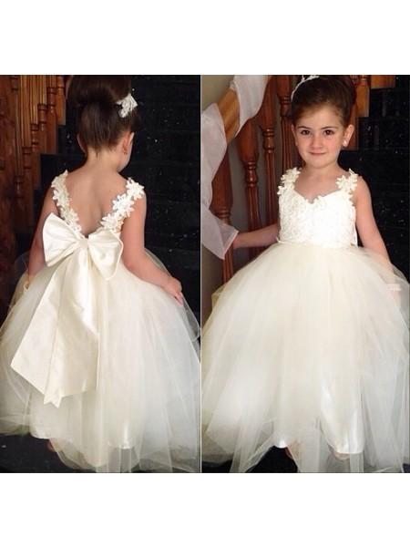 Ball Gown Tulle Sweetheart Sleeveless Floor-Length With Bowknot Flower Girl Dresses