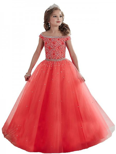 Ball Gown Tulle Off-the-Shoulder Sleeveless Floor-Length With Beading Flower Girl Dresses