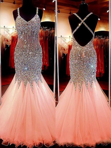 Mermaid Sleeveless V-neck Tulle With Sequin Floor-Length Dresses