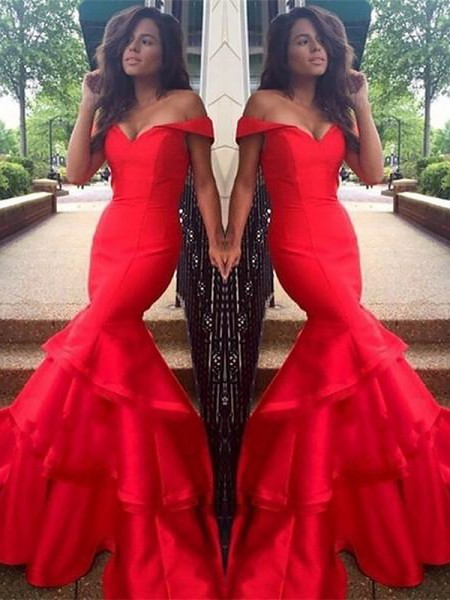 Mermaid Sleeveless Off-the-Shoulder Satin With Layers Sweep/Brush Train Dresses