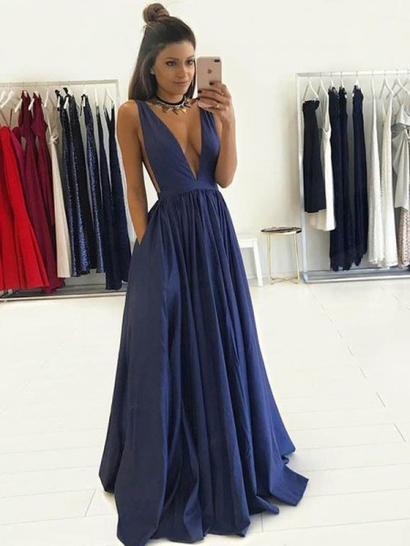 A-Line Taffeta V-neck Sleeveless Floor-Length With Ruffles Dresses