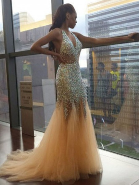 Mermaid Tulle Halter Sleeveless Court Train With Sequin Dresses