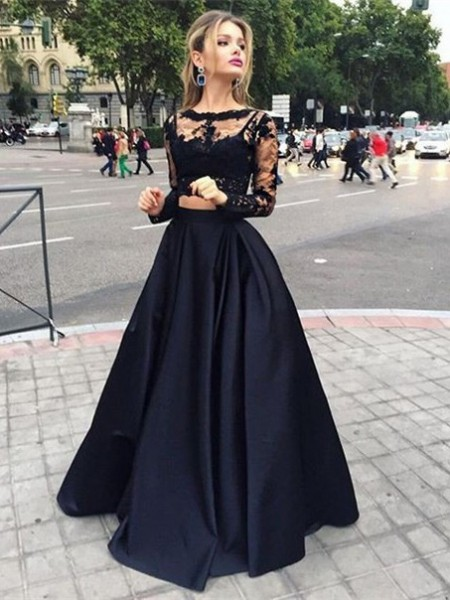 Ball Gown Satin Bateau Long Sleeves Floor-Length With Beading Dresses