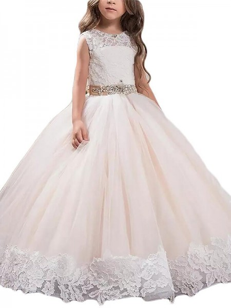 Ball Gown Tulle Scoop Sleeveless Floor-Length With Lace Flower Girl Dresses