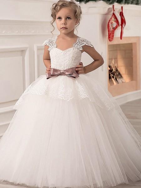 Ball Gown Tulle Straps Sleeveless Floor-Length With Sash/Ribbon/Belt Flower Girl Dresses