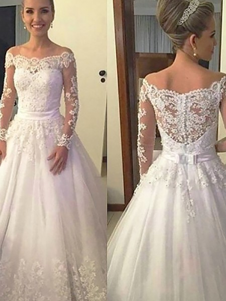 12fd19c8f8 add your photo · Ball Gown Long Sleeves Off-the-Shoulder Lace Tulle Court  Train Wedding Dresses