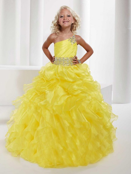 Ball Gown Organza One-Shoulder Sleeveless Floor-Length With Beading Flower Girl Dresses