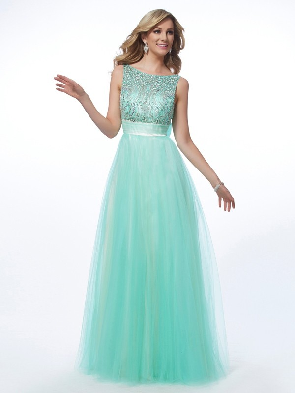 A-Line Net Bateau Sleeveless Floor-Length With Beading Dresses