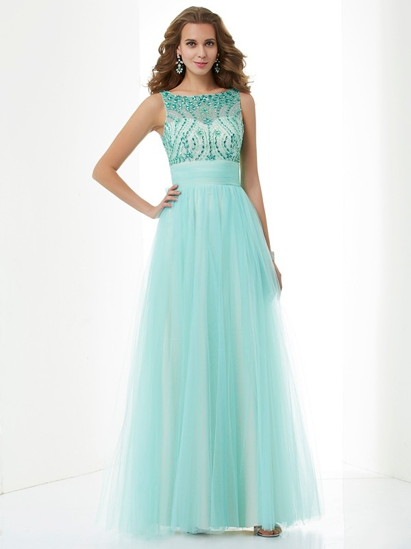 A-Line Elastic Woven Satin Bateau Sleeveless Floor-Length With Beading Dresses