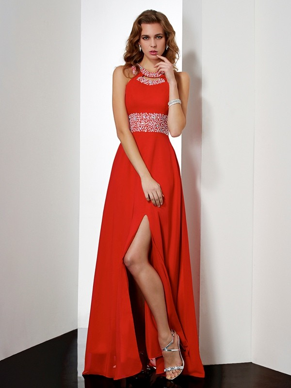 Empire Chiffon Jewel Sleeveless Floor-Length With Acrylic Jewels Dresses