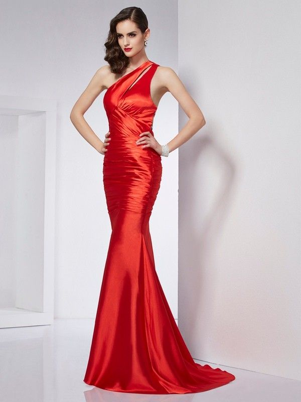 Sheath Elastic Woven Satin One-Shoulder Sleeveless Sweep/Brush Train With Beading Dresses