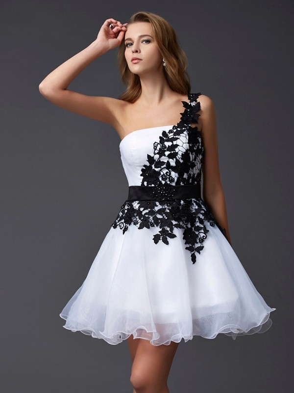 A-Line Organza One-Shoulder Sleeveless Short/Mini With Lace Homecoming Dresses