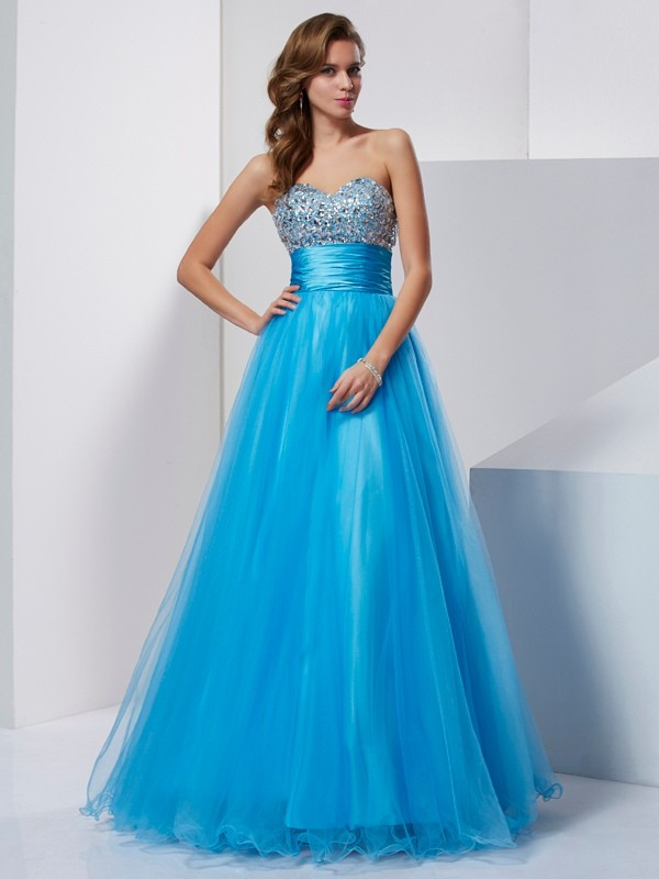 A-Line Tulle Sweetheart Sleeveless Floor-Length With Beading Dresses