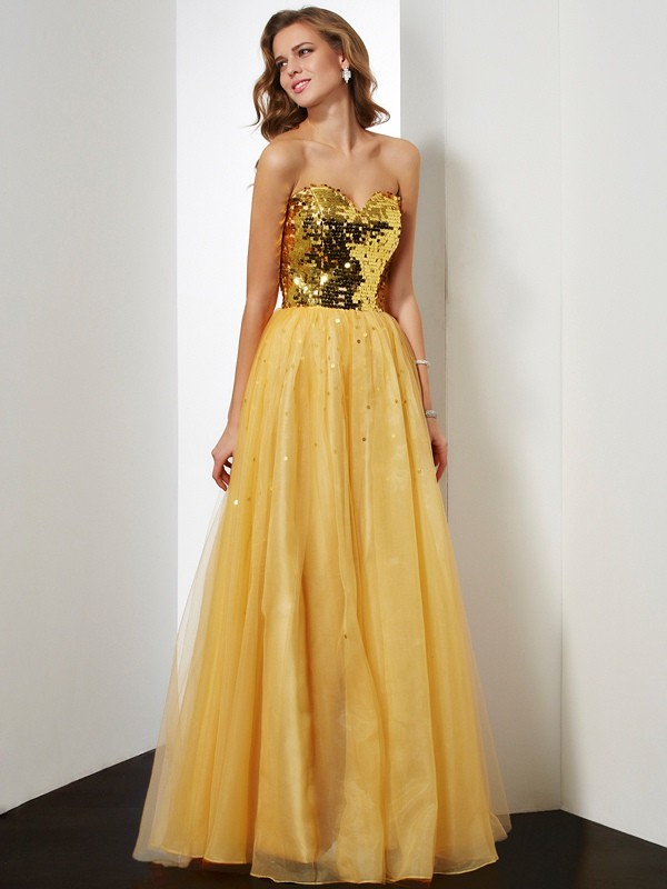 Ball Gown Organza Sweetheart Sleeveless Floor-Length With Sequin Dresses
