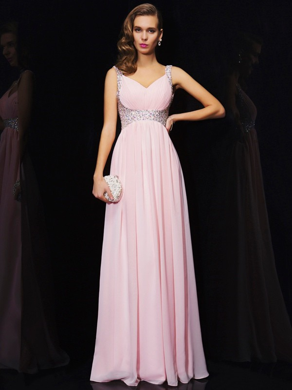 A-Line Chiffon V-neck Sleeveless Floor-Length With Beading Dresses