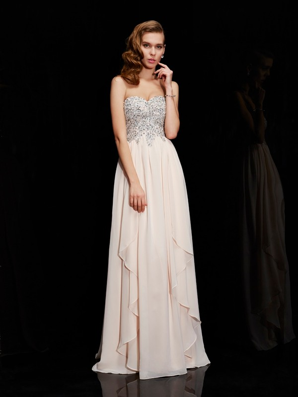 Sheath Chiffon Sweetheart Sleeveless Floor-Length With Beading Dresses