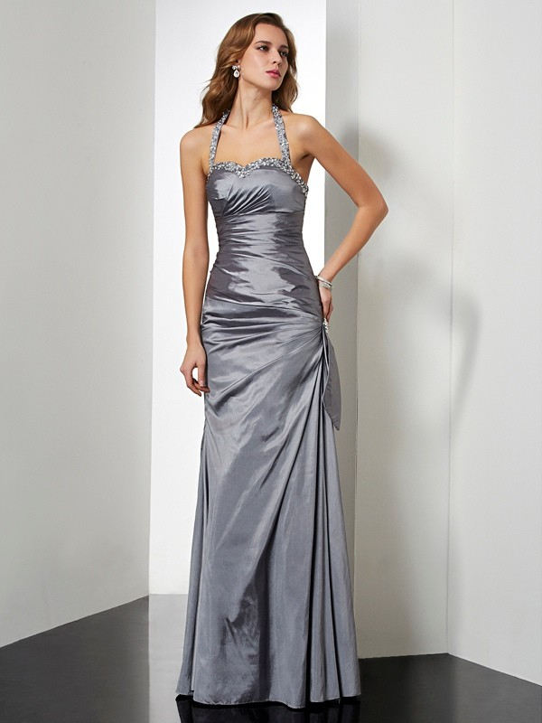 Mermaid Taffeta Halter Sleeveless Floor-Length With Beading Dresses
