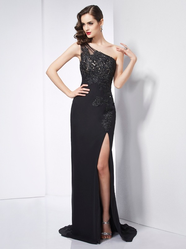 Sheath Chiffon One-Shoulder Sleeveless Sweep/Brush Train With Applique Dresses