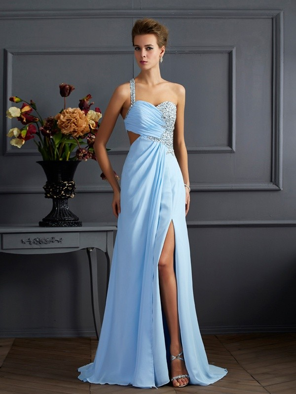 Sheath Chiffon One-Shoulder Sleeveless Sweep/Brush Train With Beading Dresses
