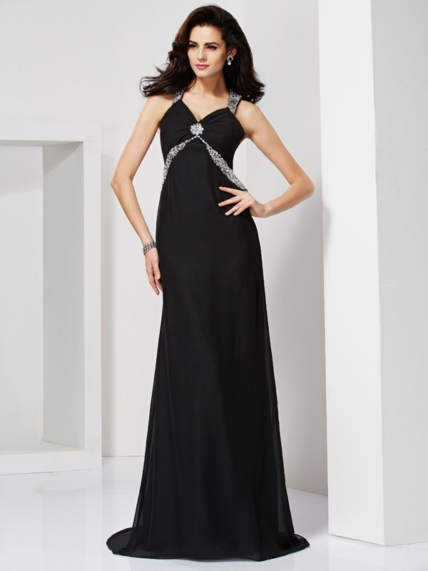 Sheath Chiffon Straps Sleeveless Sweep/Brush Train With Beading Dresses